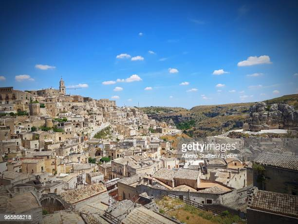 aerial view of buildings against sky - basilicata region stock pictures, royalty-free photos & images