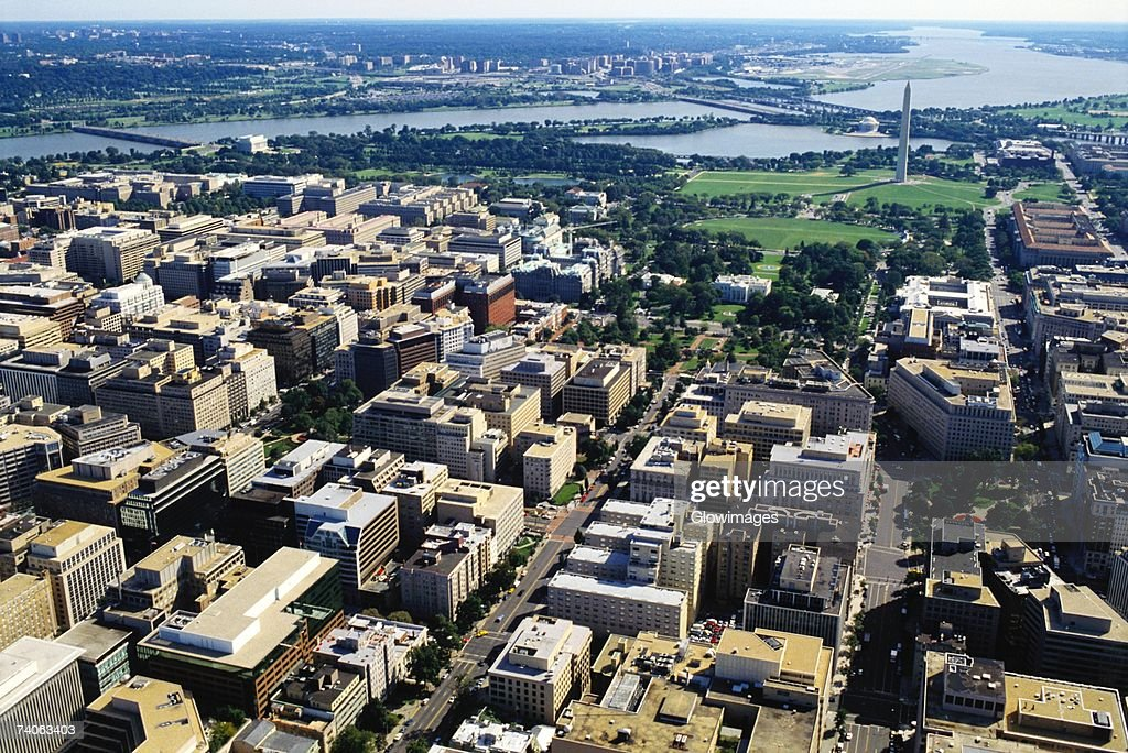 Aerial view of buildings along a river, Washington DC, USA : Stock Photo
