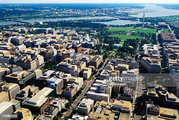 Aerial view of buildings along a river, Washington DC, USA