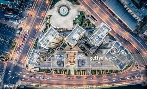 aerial view of buildings and roads - liyao xie fotografías e imágenes de stock