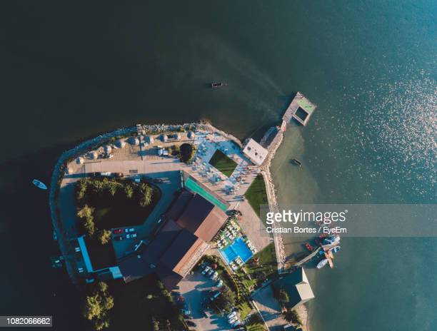 aerial view of buildings and sea - bortes stock pictures, royalty-free photos & images