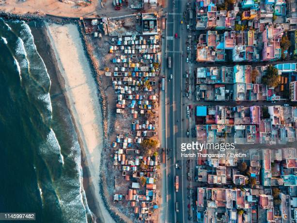 aerial view of buildings and sea - chennai stock pictures, royalty-free photos & images