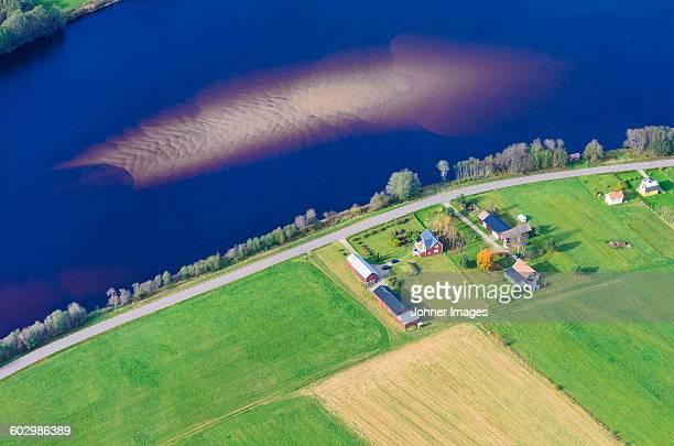 Aerial view of buildings at water