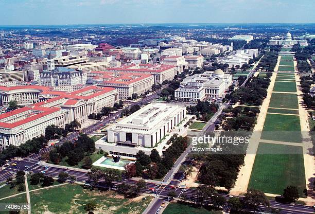 Aerial view of buildings in a city, Washington DC, USA