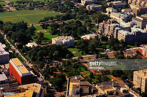 Aerial view of buildings in a city, White House, Washington DC, USA