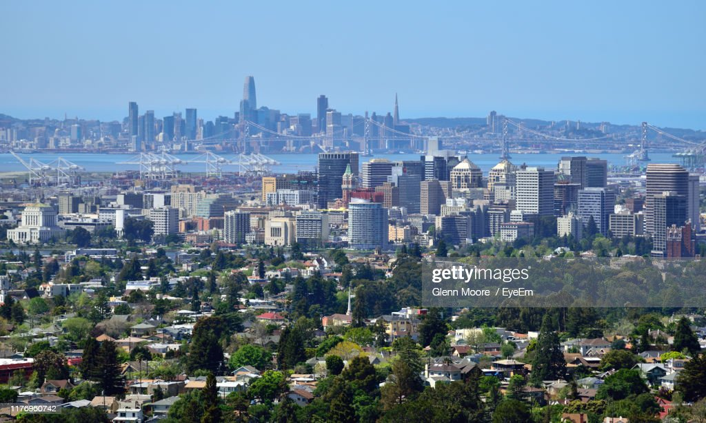 Aerial View Of Buildings In City Against Clear Sky : Stock Photo