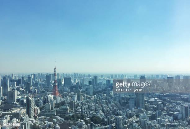 aerial view of buildings in city against clear sky - 問題 ストックフォトと画像