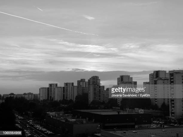 aerial view of buildings in city against sky - belgrade serbia stock pictures, royalty-free photos & images