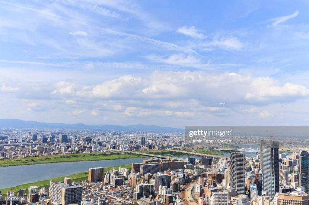 Aerial View Of Buildings In City : Stock Photo