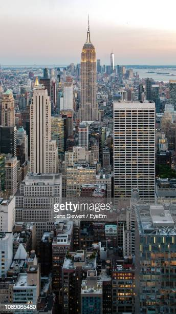 aerial view of buildings in city - jens siewert stock-fotos und bilder