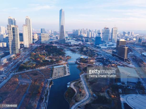aerial view of buildings in city - incheon stock pictures, royalty-free photos & images