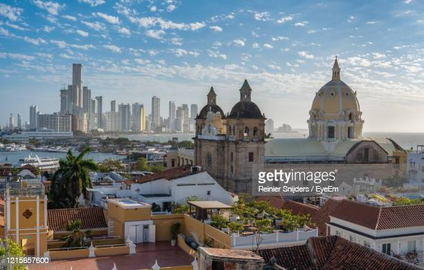 aerial view of buildings in city - colombia stock pictures, royalty-free photos & images