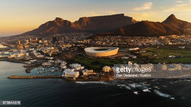 aerial view of buildings in city - table mountain stock pictures, royalty-free photos & images