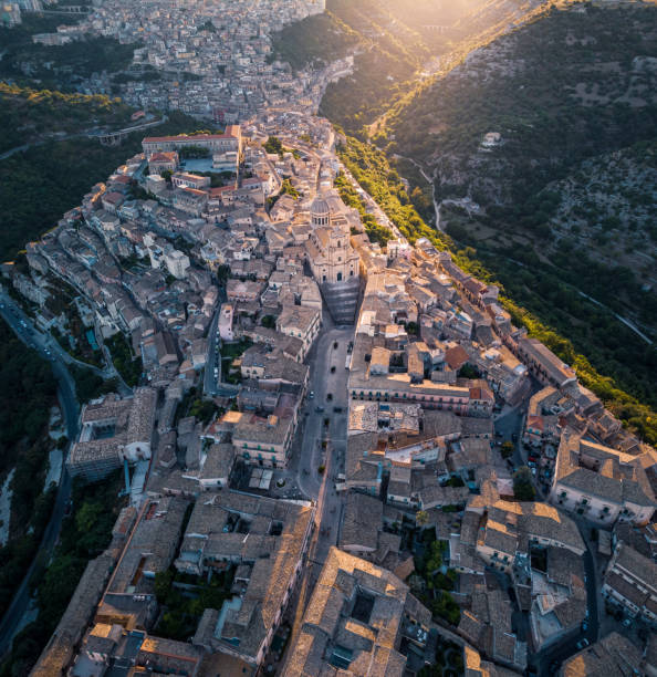 Aerial view of buildings in city,Ragusa RG,Italy