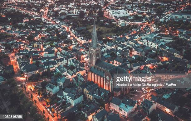 aerial view of buildings in town - loire atlantique stock pictures, royalty-free photos & images