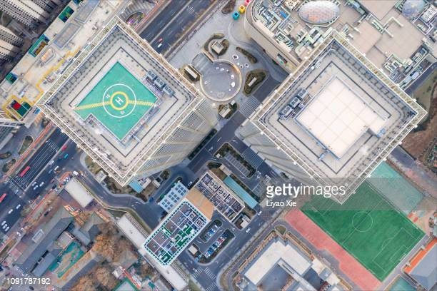 aerial view of buildings - tokyo midtown stock pictures, royalty-free photos & images