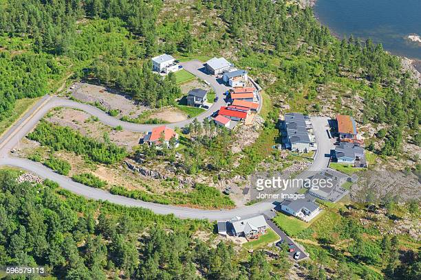 aerial view of buildings - dalsland - fotografias e filmes do acervo