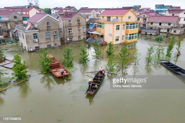Aerial view of buildings submerged in flood waters of Shijiu Lake on July 19, 2020 in Nanjing, Jiangsu Province of China.