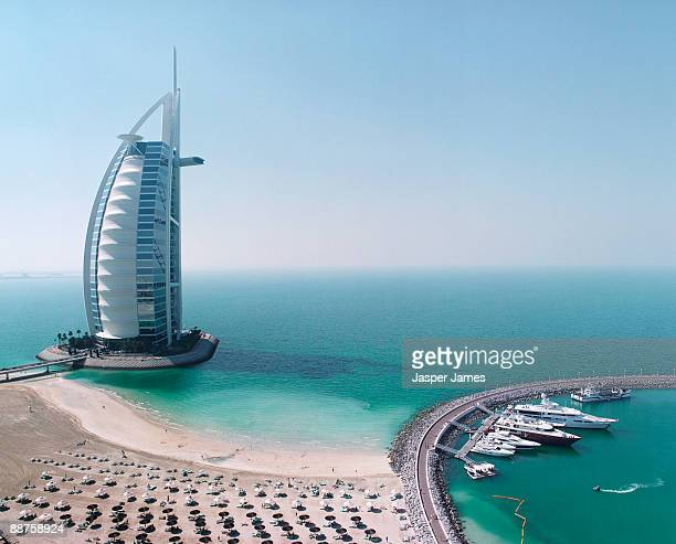 Aerial view of Burj al Arab Hotel, Dubai