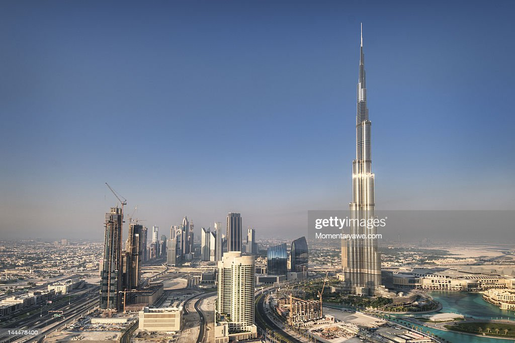 Aerial view of Burj Khalifa : Stock Photo