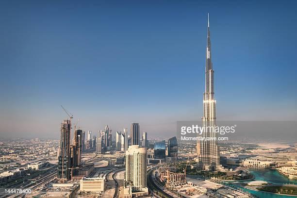 aerial view of burj khalifa - burj khalifa stock photos and pictures