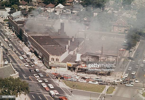 Aerial view of burnt out buildings and general destruction of shops and retail premises in Detroit following days and nights of rioting sparked by a...