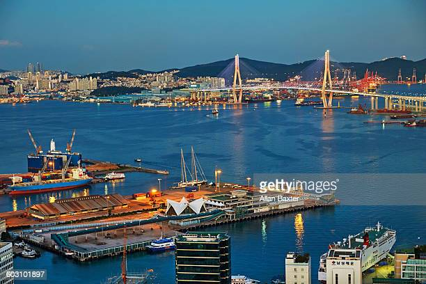 Aerial view of Busanhang Bridge in Busan