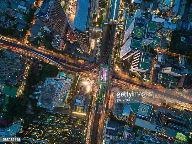 Aerial view of business area in Bangkok, Thailand