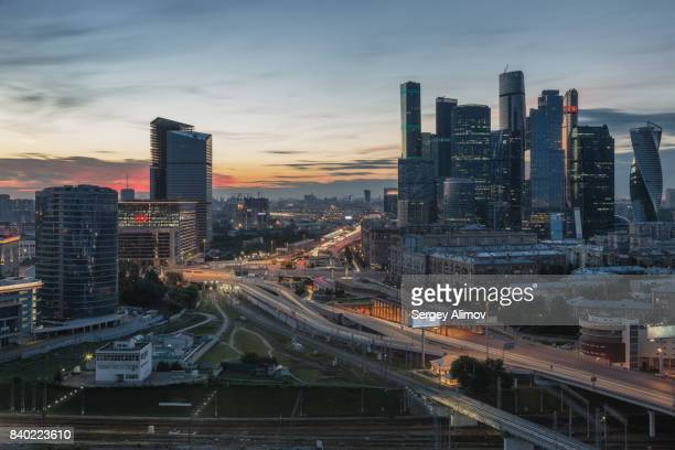 Aerial view of business district of Moscow at rush hour