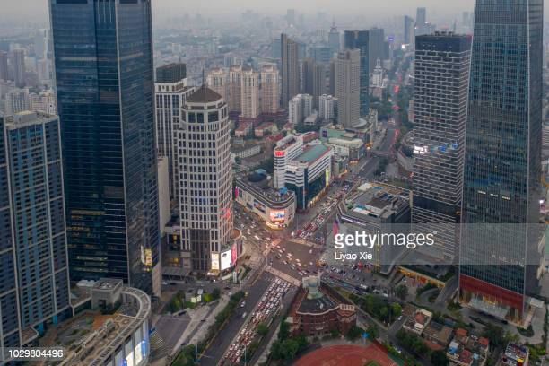 aerial view of business district - liyao xie stock pictures, royalty-free photos & images