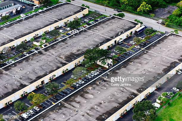 Aerial view of business structures and parking lot, Miami, Florida, USA