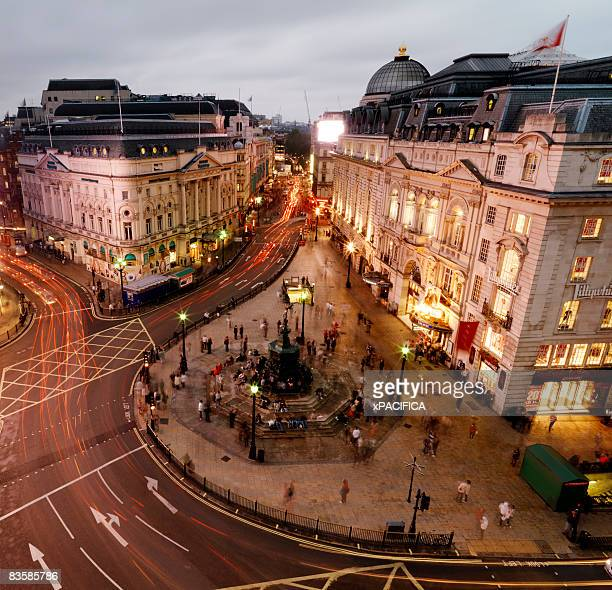 a aerial view of bustling piccadilly circus. - piccadilly stock pictures, royalty-free photos & images