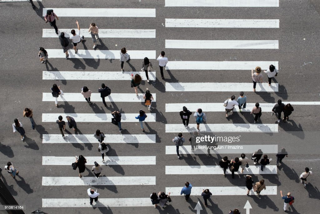 Aerial View of Busy Crosswalk with People, Seoul, Korea : Stock Photo
