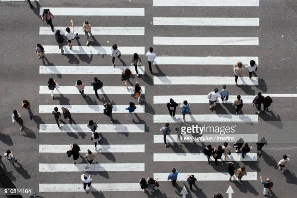 aerial view of busy crosswalk with people, seoul, korea - pedestrian crossing stock photos and pictures