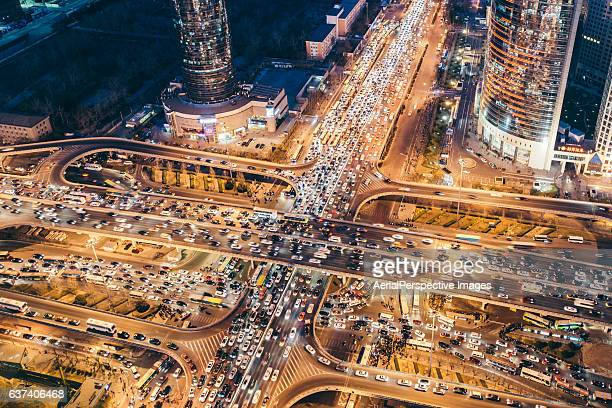 Aerial View of Busy Intersection and Traffic Jam at Night