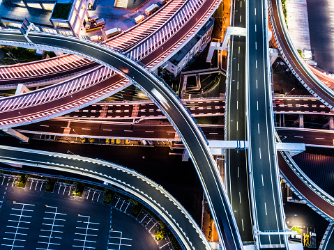Aerial view of busy intersection in twilight - gettyimageskorea