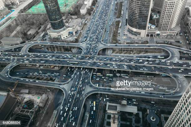 Aerial View of Busy Overpass in Beijing
