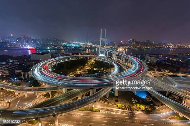 Aerial View of Busy Overpass in Shanghai at Night