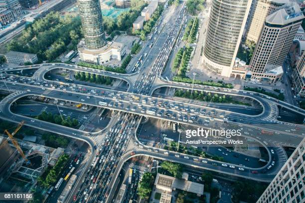 Aerial View of Busy Overpass