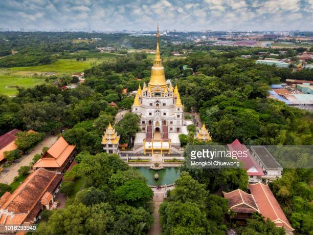 Aerial view of Buu Long Pagoda in Ho Chi Minh City. A beautiful buddhist temple hidden away in Ho Chi Minh City at Vietnam