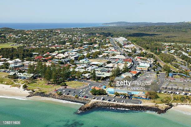 aerial view of byron bay city, nsw, australia - town stock pictures, royalty-free photos & images
