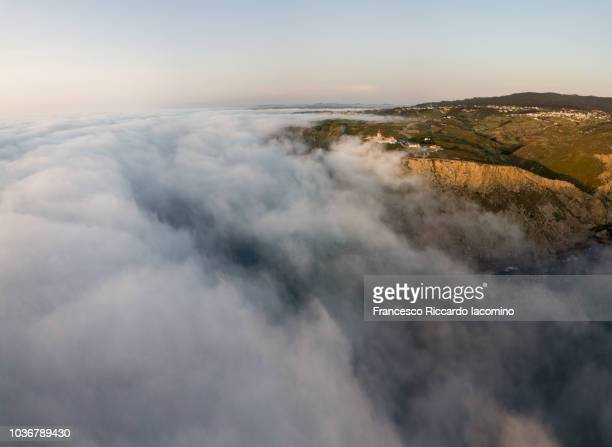 Aerial view of Cabo da Rocha with fog on Ocean, Portugal