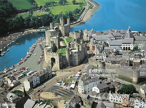 Aerial view of Caernarfon Castle - Wales, United Kingdom