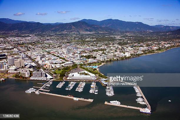 aerial view of cairns, queensland, australia - cairns stock pictures, royalty-free photos & images