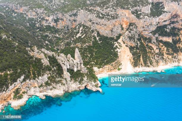 aerial view of cala goloritze beach - cala goloritze foto e immagini stock