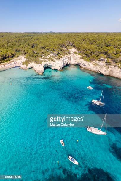 aerial view of cala mitjana, balearic islands, spain - ミノルカ ストックフォトと画像