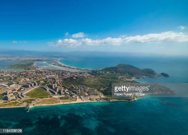aerial view of calamosca in cagliari - cerdeña fotografías e imágenes de stock