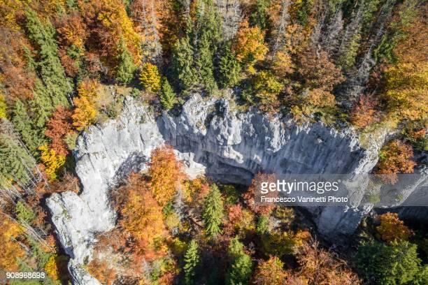 Aerial view of calcareous mountains and trees. Upper Danube Nature Park, Beuron, Baden-Württemberg, Germany.