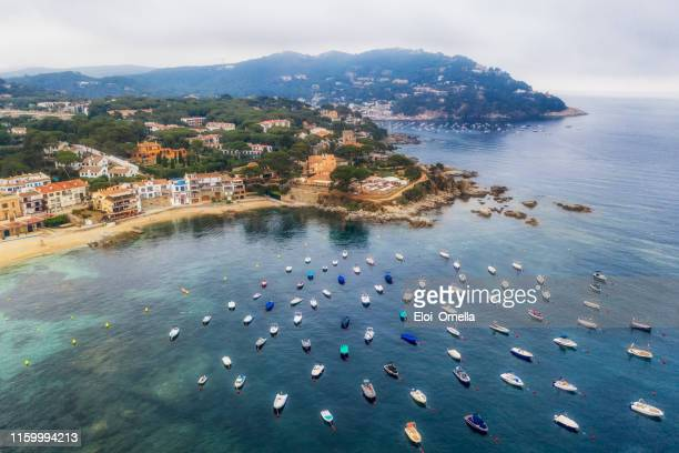 aerial view of calella de palafurgell and llafranc in costa brava. spain - gerona province stock photos and pictures