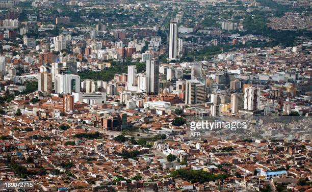 Aerial view of Cali Valle del Cauca departament Colombia on May 19 2013 The Colombian National Police is overflying the city as part of the security...